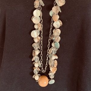 Charming necklace of mother-of-pearl coins & chain